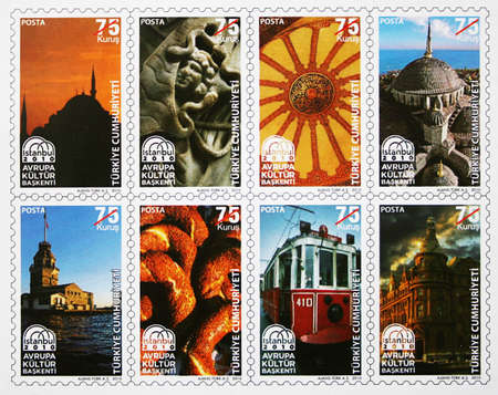 Istanbul,Turkey-January 7,2013:Turkish stamps about historical places in Istanbul