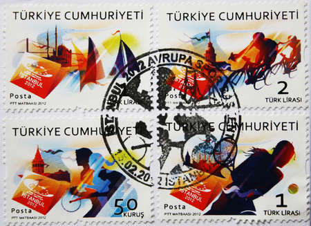 Istanbul,Turkey-January 7,2013:Turkish post-stamps about sports