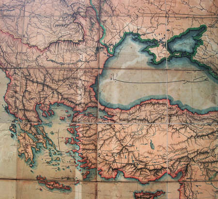 Antique Map of Ottoman Empire,Greece,Black Sea and Anatolia
