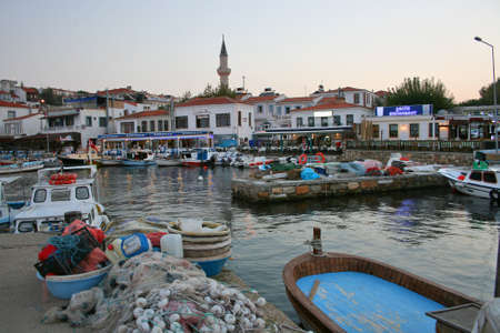 Bozcaada,Turkey-October 07,2012: Port of Bozcaada