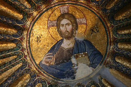 disciples: Istanbul,Turkey-June 08,2013:Mosaic of Christ Pantocrator in Chora Museum