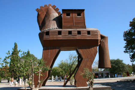 troy: Canakkale,Turkey-October 08,2012:Trojan Horse in Troia Ancient City