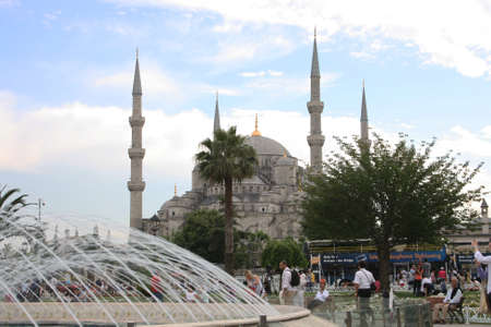 places of interest: Istanbul,Turkey-June 08,2013:The Sultan Ahmed Mosque (Blue Mosque)