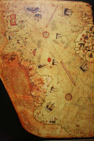 piri piri: Istanbul,Turkey-May 20,2013 Piri Reis World Map ,1513