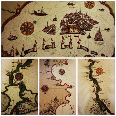 piri: Istanbul,Turkey-May 20,2013 Exhibition of Piri Reis,collage maps,Venezia,Nile river,Tripoli