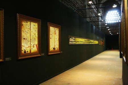 piri piri: Istanbul,Turkey-May 20,2013 Maps of Old European Cities  in exhibition of Piri Reis in Tophane