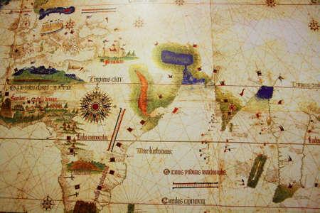 piri piri: Istanbul,Turkey-May 20,2013 Caverio Map -1505 AD-  in exhibition of Piri Reis in Tophane