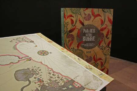piri: Istanbul,Turkey-May 20,2013 Kitab-i Bahriye in Exhibition of Piri Reis in Tophane