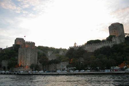 hisari: Rumeli Fortress at dusk in Istanbul,Turkey