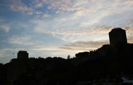 hisari: Silhouette of Rumeli Fortress in Istanbul,Turkey Stock Photo