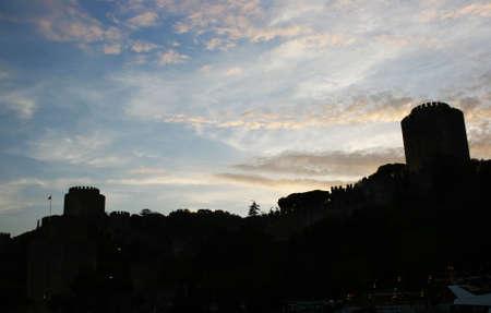 hisari: Silhouette of Rumeli Fortress in Istanbul,Turkey Stock Photo