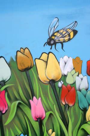Tulips and bee,Street art photo