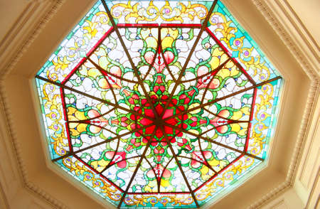 Octagonal stained glass ceiling