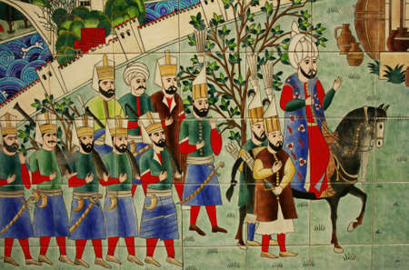 sultan: Miniature painting of Ottoman Army and Sultan