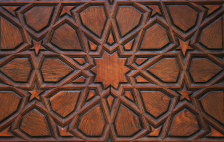 middleeast: Old Wooden Door Detail in Suleymaniye Mosque,Istanbul Stock Photo