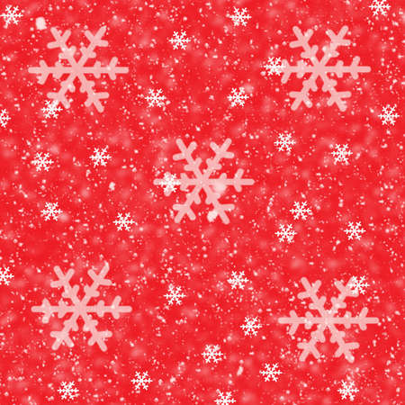 flamed: Snowflakes on Red Background-Illustration