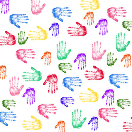 multi cultural: Colorful Hand prints Stock Photo