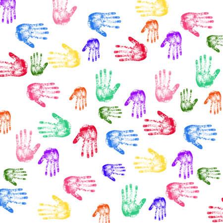 multi ethnic: Colorful Hand prints Stock Photo
