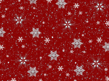 glistering: Snowflakes on Red Background