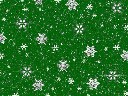 flamed: Snowflakes on Green Background