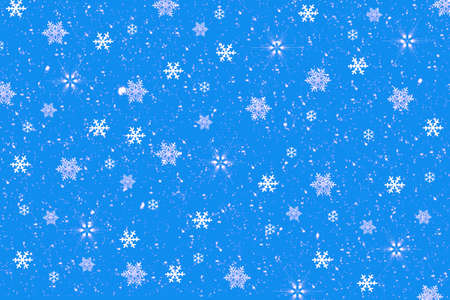 flamed: Snowflakes on Blue Background