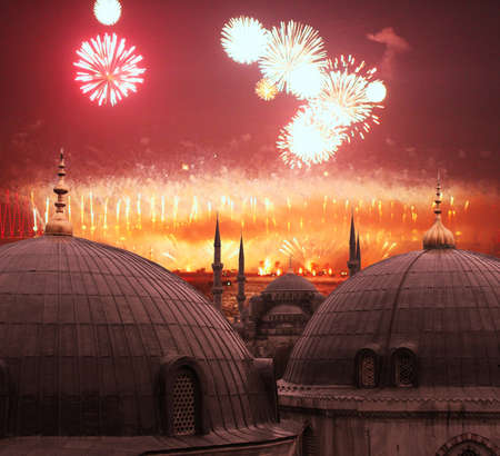 mehmed: The Blue Mosque with Fireworks Stock Photo