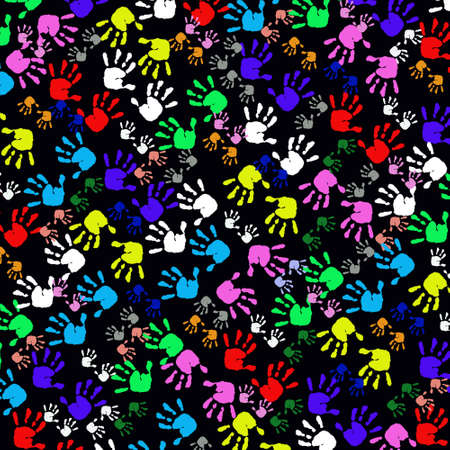 multi cultural: Colorful Kids Handprints,Seamless Pattern Stock Photo