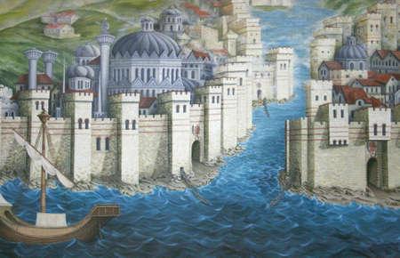 romano: Antiguo Estambul (Constantinopla), Imperio Romano era -Pintura Editorial