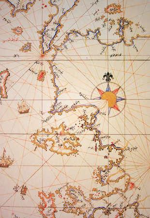 naval: Copy of Piri Reis map on a brochure-Aegean shores of Turkey