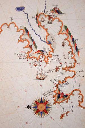 piri piri: Copy of Piri Reis map on a brochure-Izmir in Turkey Stock Photo