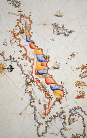 piri piri: Copy of Piri Reis map on a brochure-Euboia (Egriboz) Island