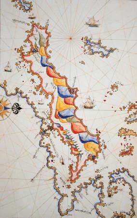 greek islands: Copy of Piri Reis map on a brochure-Euboia (Egriboz) Island