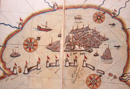 piri piri: Copy of Piri Reis map on a brochure-Venezia