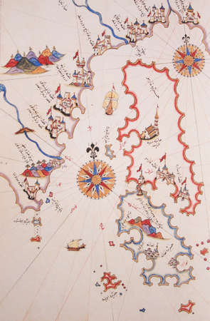 piri piri: Copy of Piri Reis map on a brochure-Islands of Greece