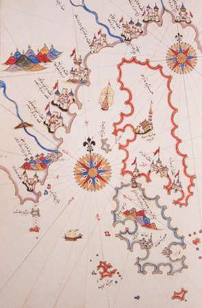Copy of Piri Reis map on a brochure-Islands of Greece