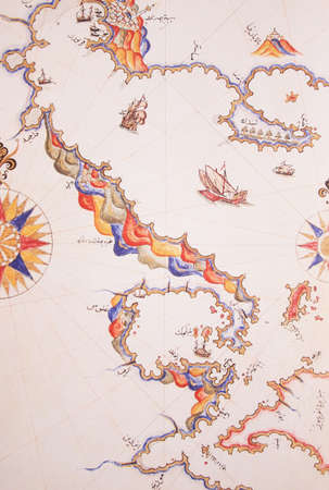 piri piri: Copy of Piri Reis map on a brochure-Thessaloniki (Selanik),Greece