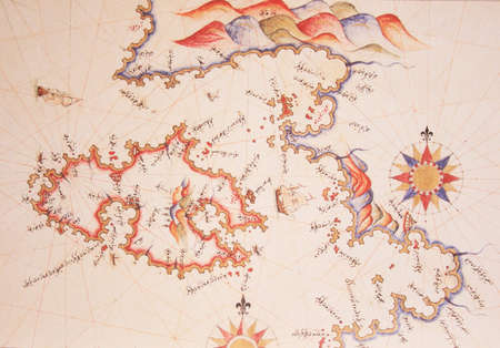 piri piri: Copy of Piri Reis map on a brochure-Lesvos (Midilli) Island,Greece