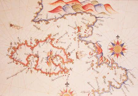 Copy of Piri Reis map on a brochure-Lesvos (Midilli) Island,Greece