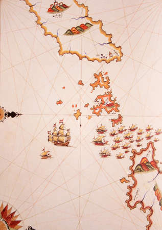 Copy of Piri Reis map on a brochure-The gulf between Ikaria (Ahikerya) and Samos (Sisam),Greece Stock Photo