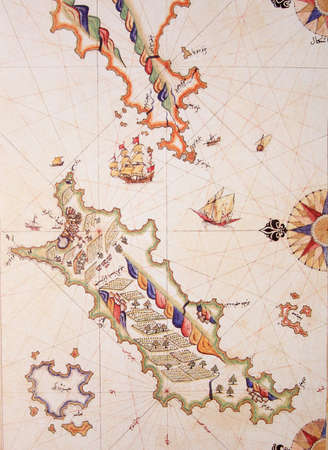 Copy of Piri Reis map on a brochure- Cos (Kos) Island,Greece