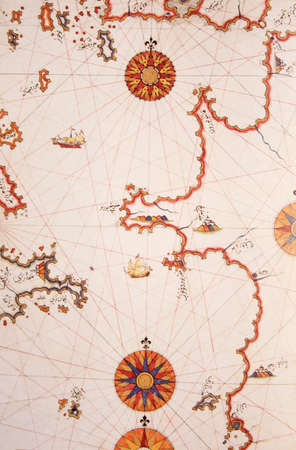 piri piri: Copy of Piri Reis map on a brochure -Lepanto (Inebahtı) ,Greece