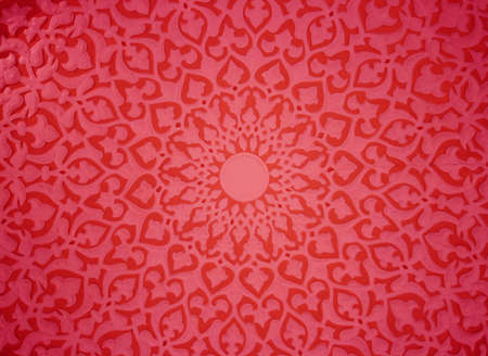 Oriental ornaments plaster ceiling, red version