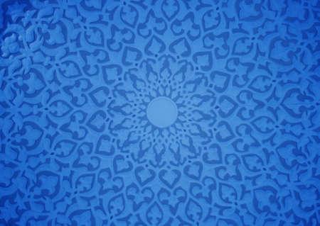 Oriental ornaments plaster ceiling, blue version