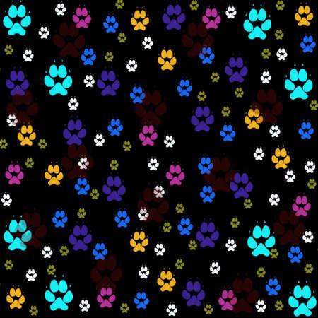 Colorful pawprints seamless pattern
