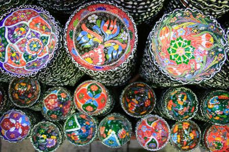 bazaar: Colorful Ceramics in the Grand Bazaar, Istanbul Stock Photo