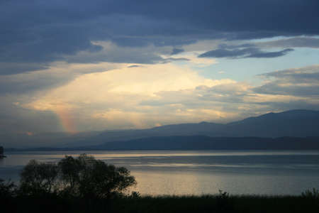 After storm a little rainbow over Sapanca Lake, Sakarya, Turkey Stockfoto