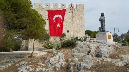 Kusadasi Castle and Okuz Mehmed Pasha Statue in Aydin, Turkey
