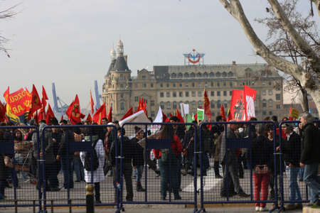 Socialist Protesters and Historical Haydarpasha Train Station in Kadikoy, Istanbul, Turkey