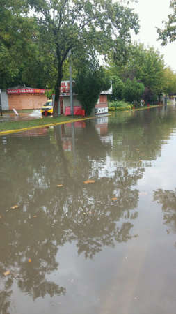 Flood at street at Kocaeli,Turkey in summer