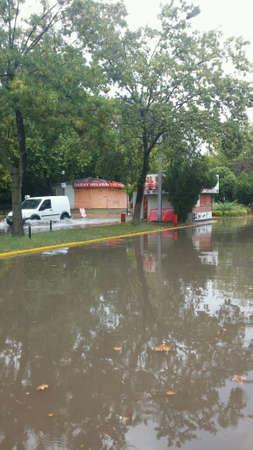 Flood at street in summer ,Kocaeli ,Turkey